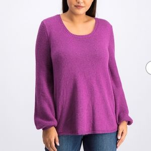 Style&Co Sweater Pullover Vivid Violet Purple Knit